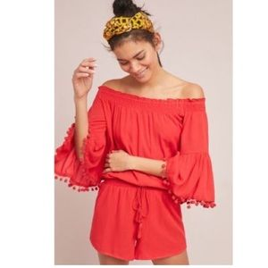 Anthropologie RAGA Colette Pommed Romper Red Pom
